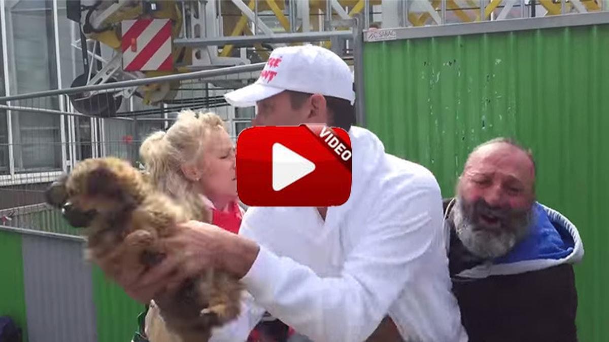 Defensores de los animales arrebatan un cachorro a un mendigo