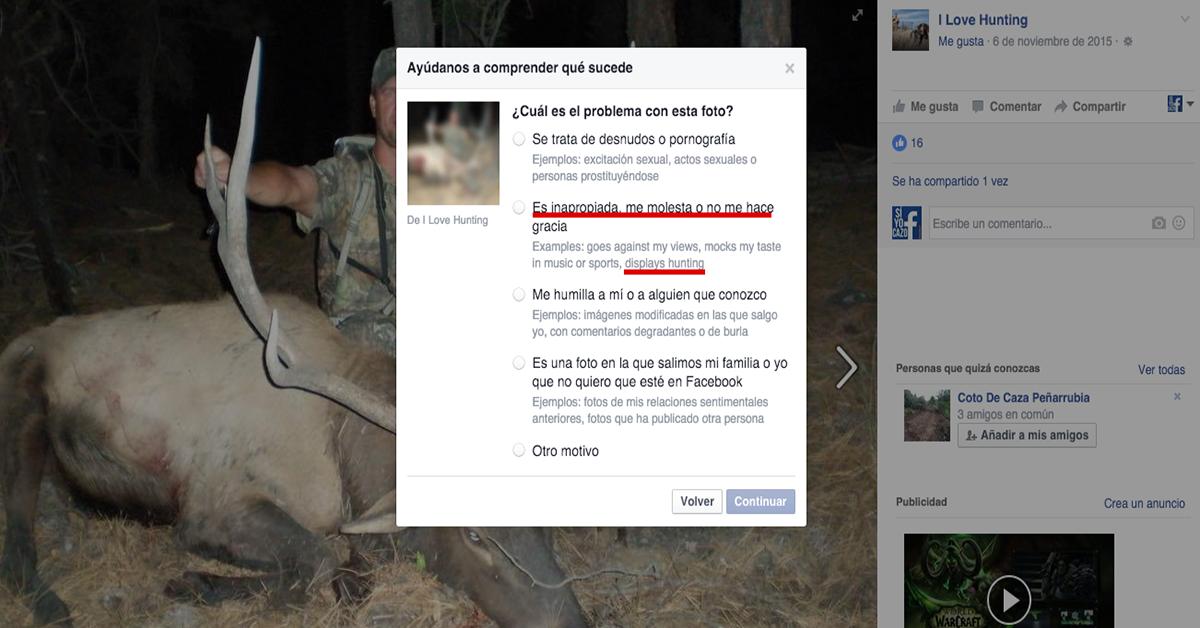 Facebook rectifica con los toros, pero no con la caza
