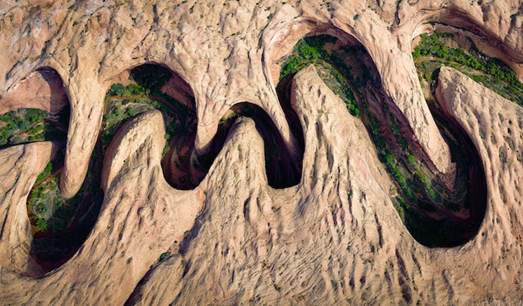 La vegetación verde florece en el borde del río de un cañón serpenteante en Utah. / Fotografía: Infobae