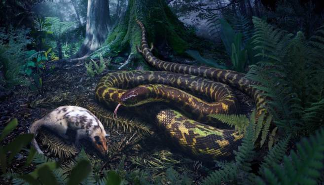 Recreación artística del ancestro de las serpientes acechando a una presa. JULIUS CSOTONYI