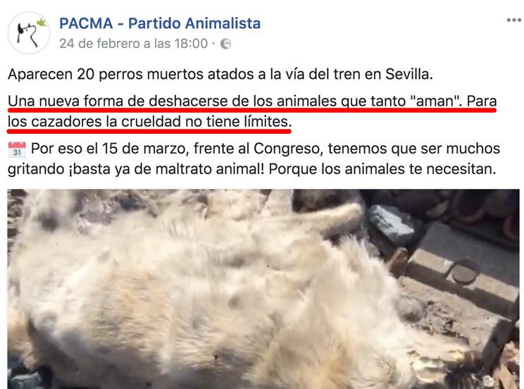 Aparecen 20 perros muertos y PACMA miente para fomentar el odio a los cazadores