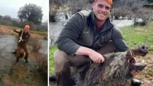 Muchos veteranos cazadores soñarían con el primer jabalí cazado por este joven
