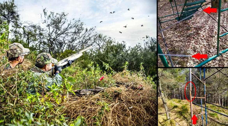 Sabotean varios puestos de caza de paloma torcaz para que los cazadores caigan al vacío