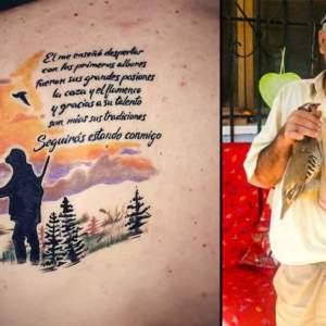 Su padre fallece y él se tatúa una escena de caza junto a él y un poema para que le siga acompañando
