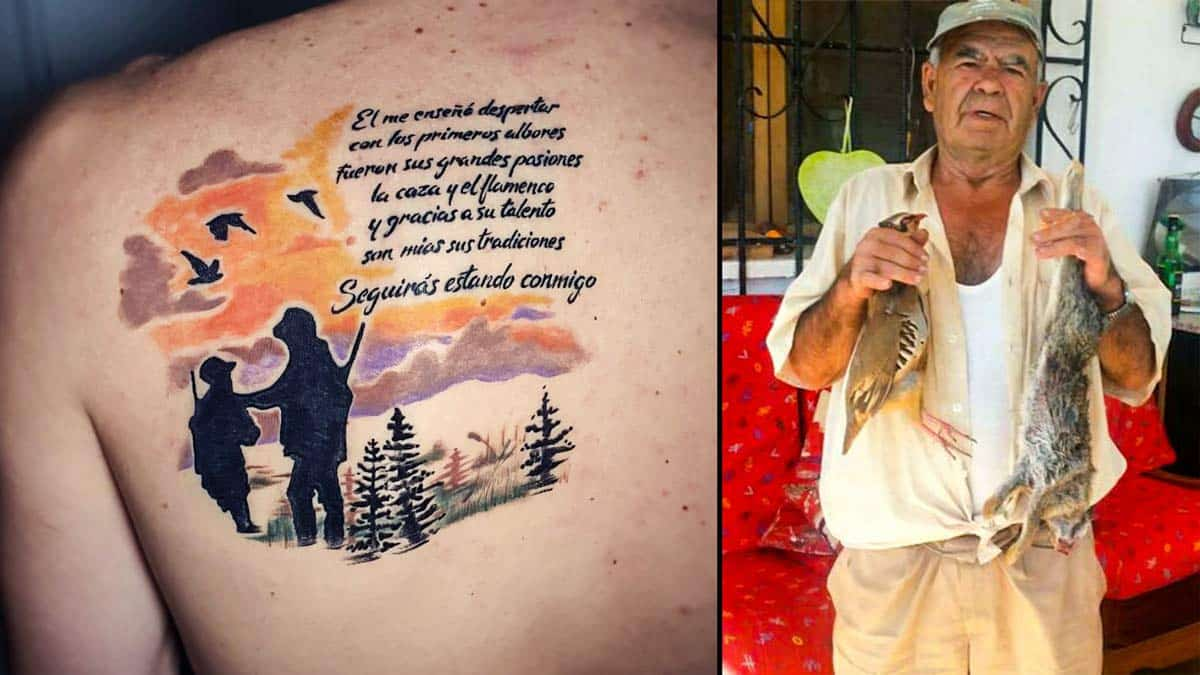 A la izquierda, el tatuaje. A la derecha, José Hervás, el padre de Cristian.