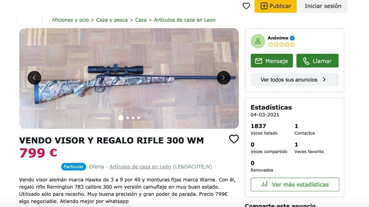 No, no puedes vender un visor y regalar un rifle de caza por Internet