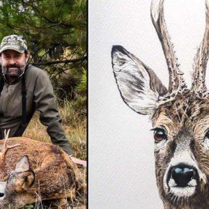 El cazador que convierte el corzo, la becada o la perdiz  en obras de arte