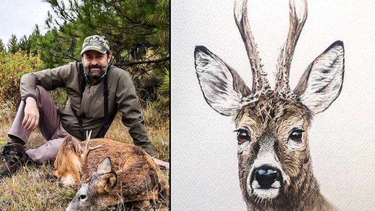 José Fernández, junto a un corzo recién cazado; a la derecha, uno de sus dibujos. © J. F.