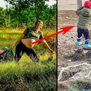 El hijo de la pareja 'embarazada' que se hizo viral hace dos años se llama Lucas y ya caza y pesca