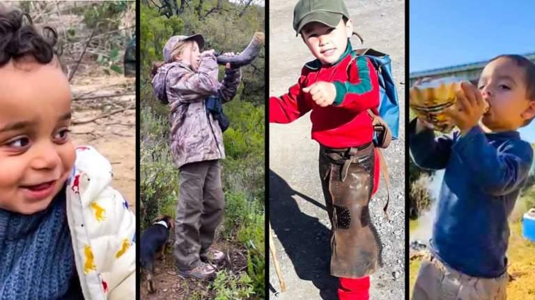 Cuatro niños que ya muestran su pasión por la caza.