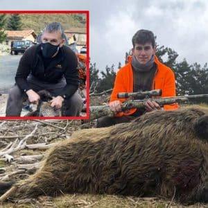 Un gran jabalí sorprende por la espalda a un padre y su hijo durante una batida en La Rioja