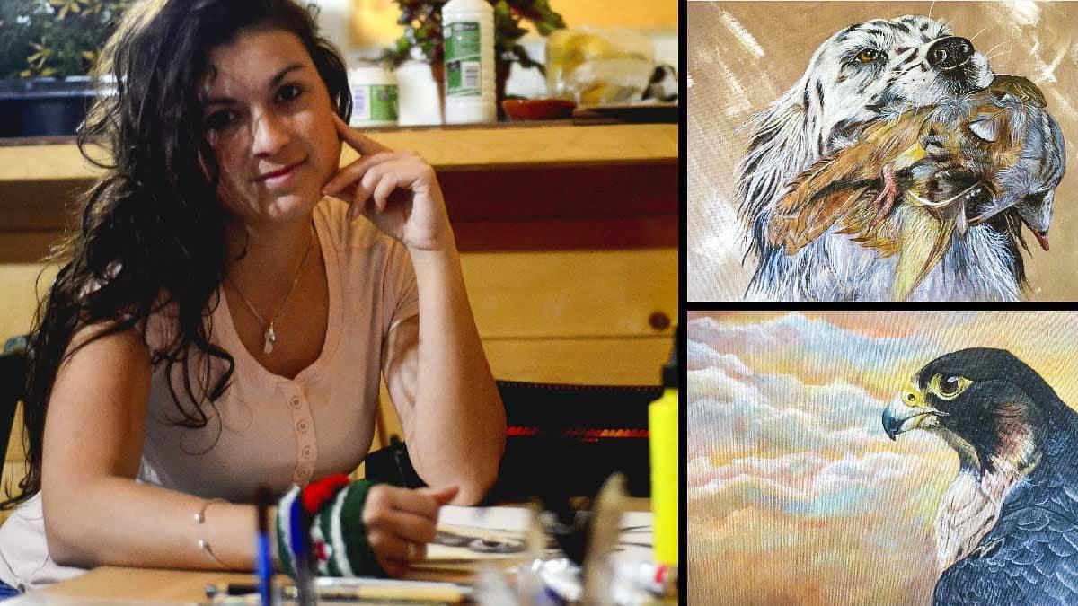Tamara Yuani y dos de sus obras.