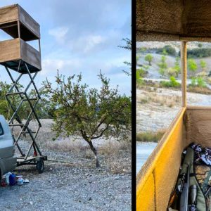 Un cazador de Murcia inventa un ingenioso puesto de caza para espera de jabalí