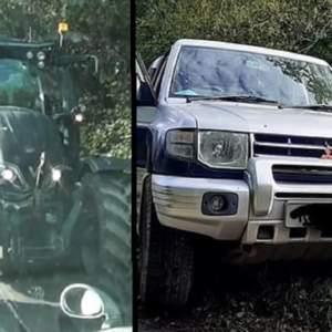 Un agricultor embiste con su tractor el coche de dos animalistas que trataban de boicotear una cacería