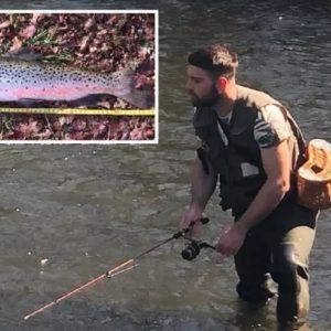 Va de pesca, tira la caña y saca a los 5 minutos una trucha de 60 centímetros