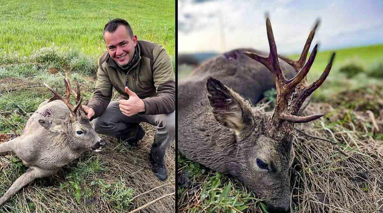 Caza en Aragón un corzo con tres luchaderas, uno de los más sorprendentes de la temporada