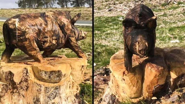 jabalí de madera
