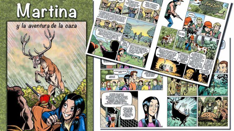 Portada y dos imágenes del cómic 'Martina y la aventura de la caza'. ©Mutuasport