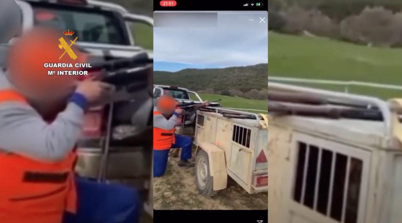 Suben un vídeo a redes tras grabarse 'tirando al plato' con un rifle y el Seprona los detiene