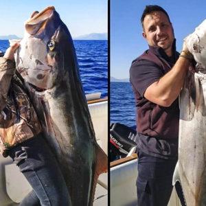 Van de dentones en Mallorca y le pica una enorme serviola que casi lo tira al mar