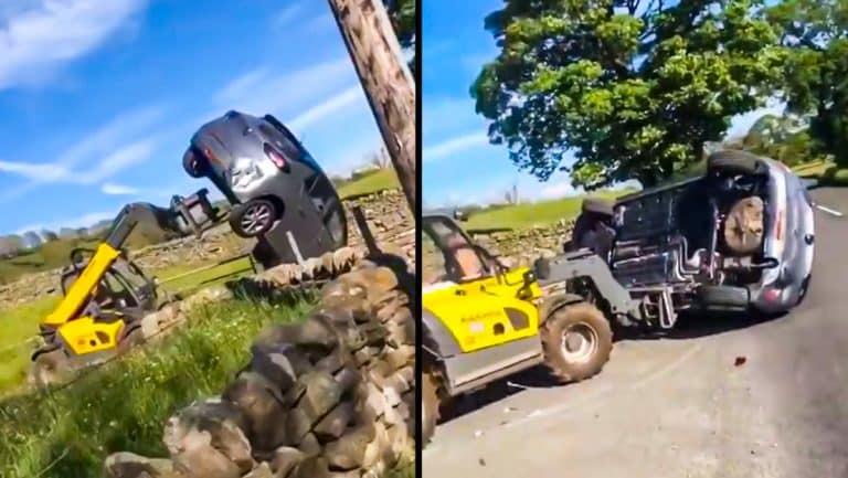 Dos momentos del vídeo del agricultor retirando el vehículo de su finca. © YouTube