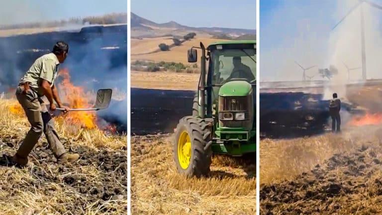 Los cazadores sofocan el incendio agrícola. © S. C. A.