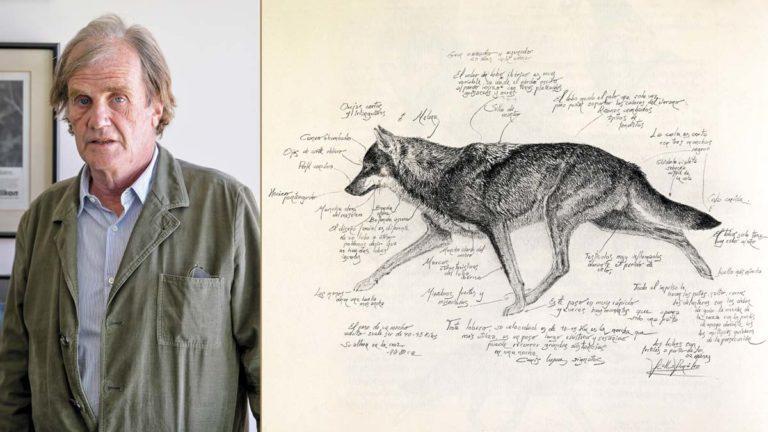 José Ramón de Camps junto a una ilustración del libro 'En tierra de lobos'. © Guillermo González