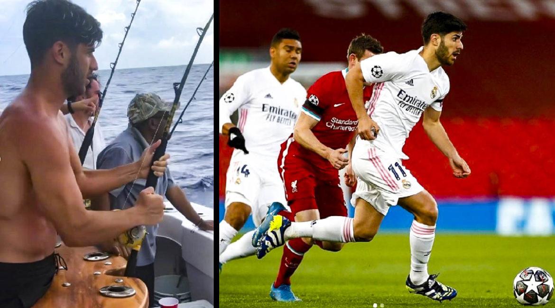 El futbolista del Real Madrid Marco Asensio se va de pesca en sus vacaciones
