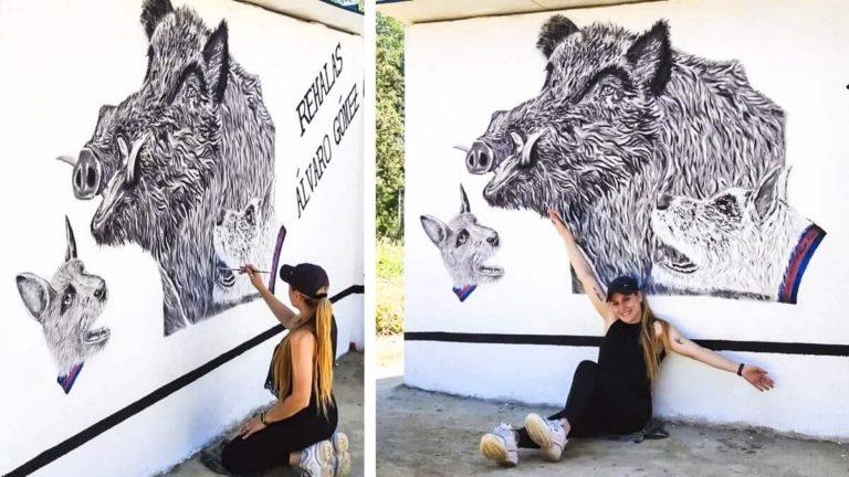 joven pinta mural