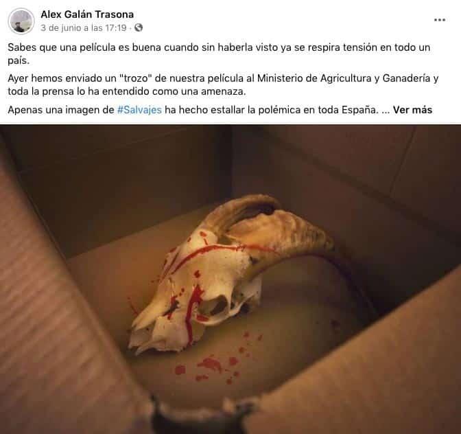 Post de Facebook en el que se reconoce la autoría del paquete.