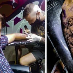 Un cazador se hace un enorme tatuaje con Artemisa, la diosa de la caza