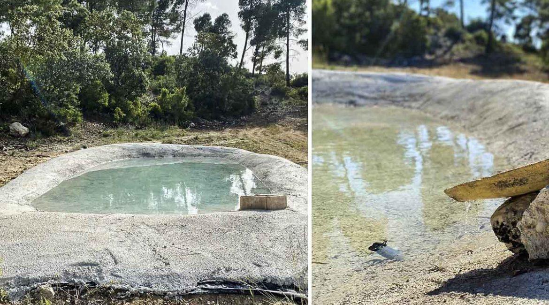 Cazadores de Alicante construyen una balsa de 10.000 litros para dar de beber a la fauna