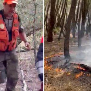 Un cazador de AEPES ayuda a apagar un incendio y choca contra un jabalí al volver a casa
