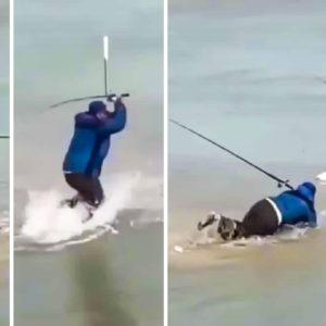 Desternillante reacción de un pescador tras tirarse al agua a por un pez que se le escapaba