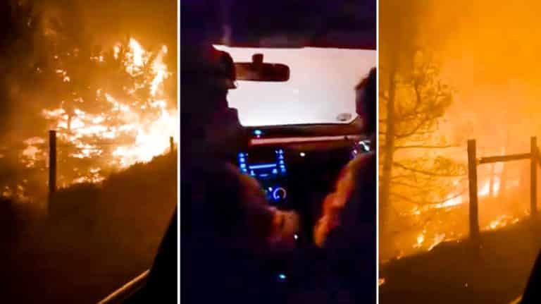 Imágenes del vídeo de los bomberos rodeados por el fuego. © YouTube