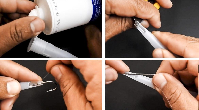 Ingenioso truco para fabricar un anudador de anzuelos casero con la boquilla de la silicona