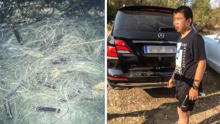 Imagen pixelada de un presunto furtivo junto a un trasmallo fotografiado en la zona. Ambas imágenes en poder de la Guardia Civil. © Facebook
