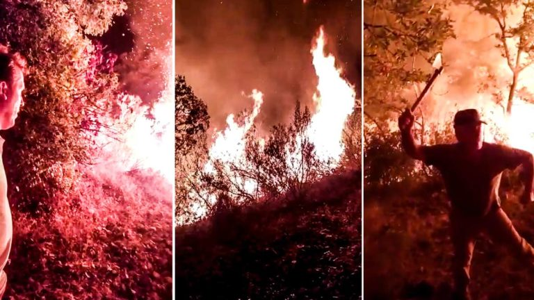 Los cazadores, durante el incendio. © Facebook