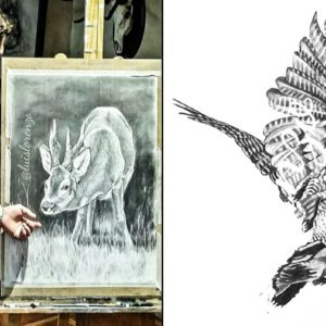 Luis Lorenzo Sánchez, el cazador que dibuja la magia de la caza con un lápiz (perros de caza, jabalíes, becadas...)