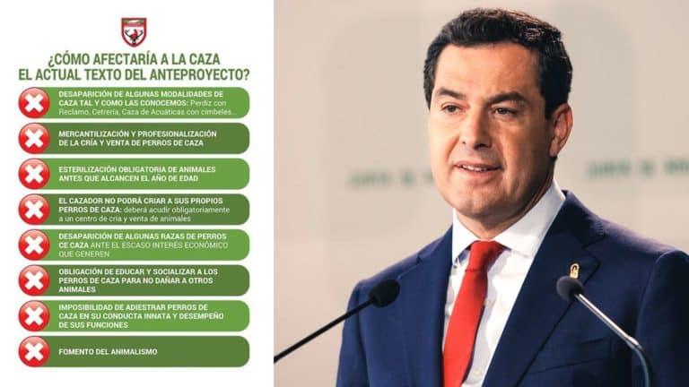 Juanma Moreno, presidente de la Junta de Andalucía, junto a algunas de las consecuencias de su ley animalista. © Shutterstock