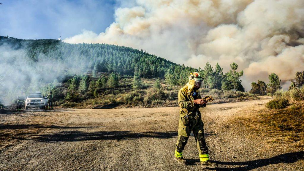 Un bombero durante un incendio forestal en Galicia. ©Shutterstock