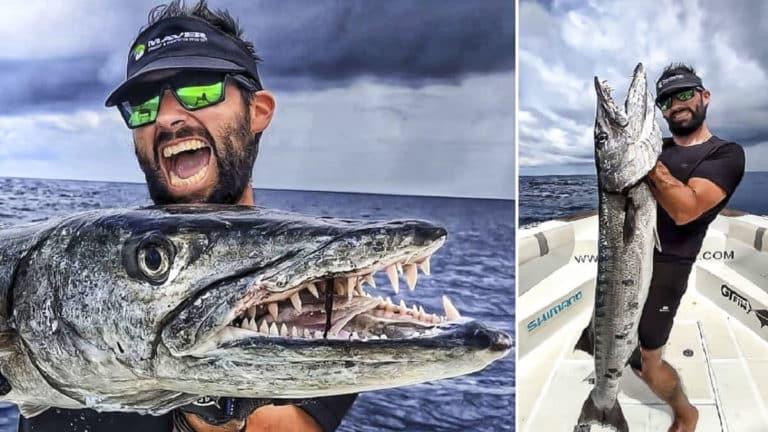 El pescador, con la barracuda.