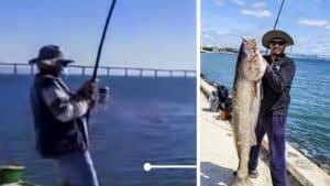 Un pescador captura desde la costa una enorme corvina de casi 50 kilos