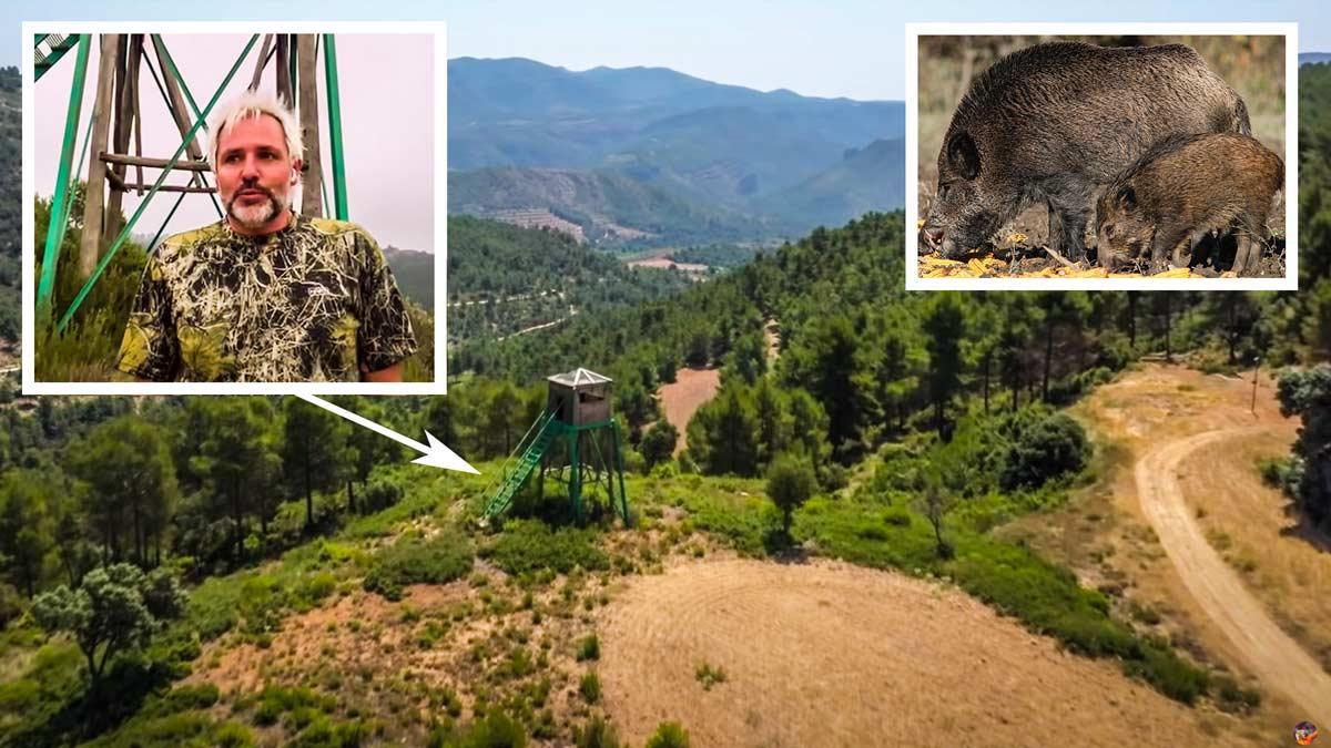 Santi Cañizares muestra el puesto de caza de su finca a vista de dron