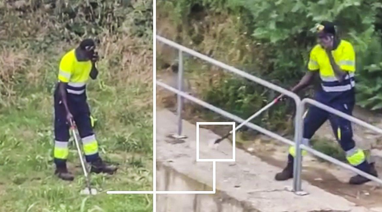 Un trabajador de la limpieza tira al Ebro la basura que recoge: el vídeo que indigna a los pescadores