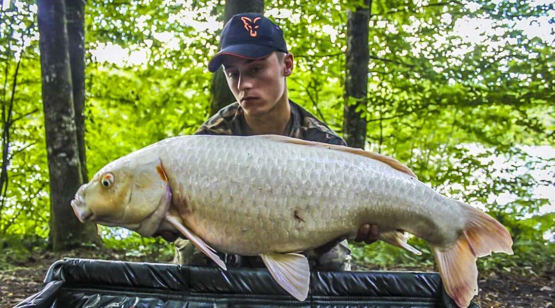 Un joven pescador madrileño captura una preciosa carpa blanca