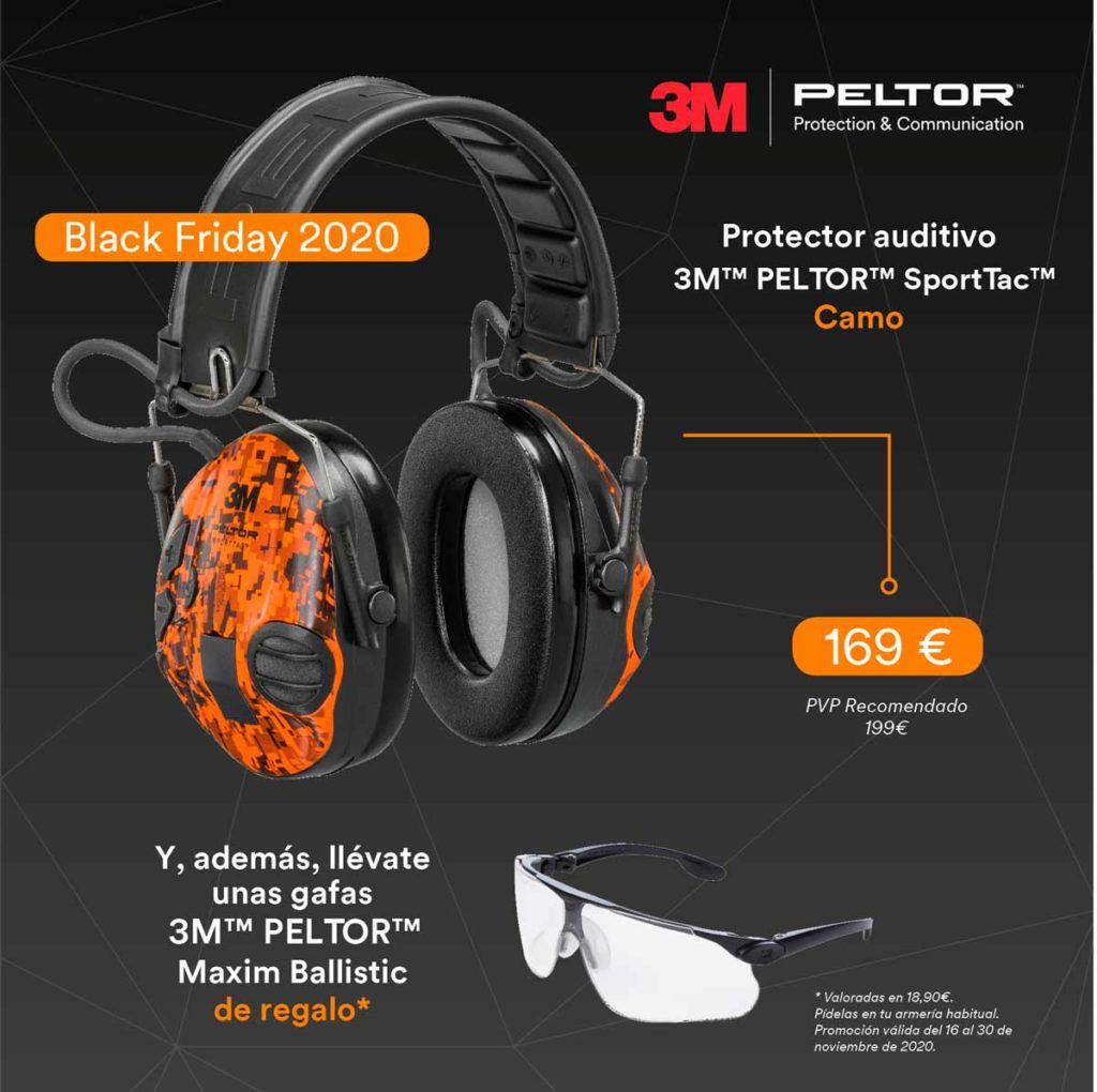 Cascos 3M Peltor SportTac Camo + gafas 3M Maxim Ballistic