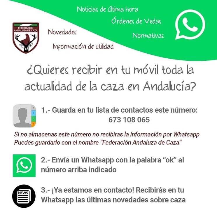 La FAC informará a los cazadores a través de WhatsApp