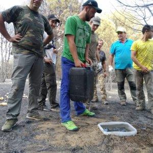 Los cazadores llevan agua y comida a los animales salvajes tras los incendios de Almorox