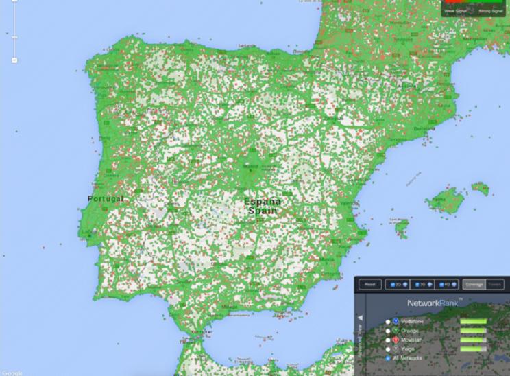 Mapa de España con puntos de cobertura y antenas / Fotografía: m.xatakamovil.com